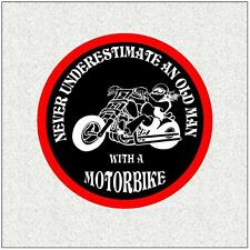 "OLD MAN BIKER 4"" BIKER BADGE PRINTED SEW ON CLOTH BADGE MOTORBIKE"