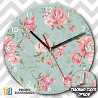 BLUE FLORAL FLOWER ROSES TROPICAL Wall Clock Teaching Learn Gift Bedroom Kids
