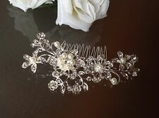 2 Pieces PEARL CRYSTAL HAIR ACCESSORY With FREE GIFT Wedding Bridal Comb Clip