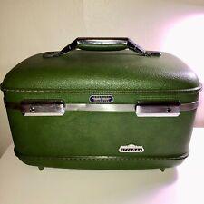 VINTAGE 60'S AMERICAN TOURISTER TIARA GREEN VANITY MAKE-UP BAG TRAVEL TRAIN CASE
