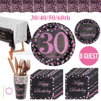 30/40/50/60th Paper Birthday Party Tableware Plates Napkins Cups Banner Se