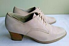 Vintage Aerosole Womens Khaki Heely Suede Oxford Sz 6 Stacked Heel
