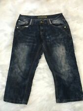 COOGI Women Jeans sz 9/10 Bling Embroidered Pockets Thick Stitches Cropped b65
