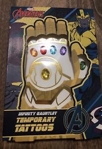 Avengers Infinity Gauntlet Temporary Tattoos & Thanos Glove Gems Marvel HeroesUK