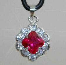 White Gold Filled Ruby Fine Pendants