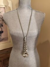 NWT GUESS Silver Crystal Rhinestone Bead Flower Chain Statement Necklace