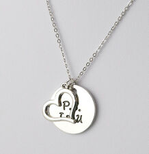 Fashion P.S I Love You Lover Couple Necklace I Love You Heart Pendant Stainless