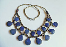 Belly Dance Blue Lapis Lazuli Multi-Layer Teardrop Necklace 19""