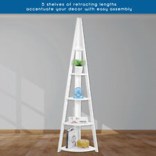5 Tier Wooden Ladder Shelf Corner Shelves Bookcase Plant Flower Shelving Units