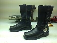 SQUARE TOE HARLEY-DAVIDSON BLACK LEATHER MOTORCYCLE HARNESS BOOTS SIZE 9 M