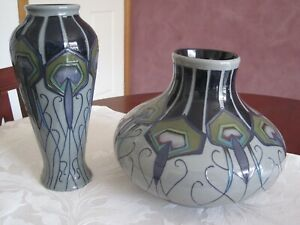 "Pair of ""Trial"" vases ""Moorecroft"" Stoke on Trent ""Peacock Parade"" design $699"