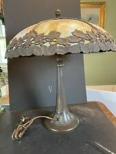 Vintage Arts & Crafts Bent Slag Glass Table Lamp by Bradley & Hubbard Cir 1920