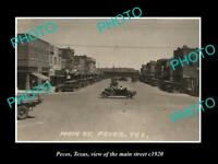 OLD LARGE HISTORIC PHOTO OF PECOS TEXAS, VIEW OF THE MAIN STREET c1920