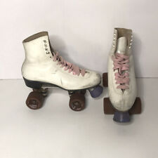 Vtg Riedell Red Wing Minnesota Leather Roller Skates Size 8.5 White Lace Up Rare