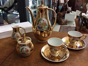 Antique 1920s RWK Marie Theresa 24 Carat Gold Plated Demitasse Coffee/Tea Set