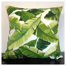 45x45cm Indoor/Outdoor Richloom Tropical Leaves Green/Brown/White Cushion Cover
