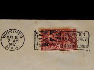 Vintage Cover,CANADA, FDC, 1937, WINNIPEG, MB, Coronation Of King George VI
