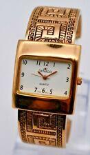 Women's DENACCI Rose Gold Tone Patterned Bangle Cuff Watch, Quartz, Analog, Runs