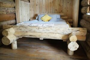 Real Wood Bed Log Cabin Antique Bespoke Double Kingsize Rustic Unusual Hand Made