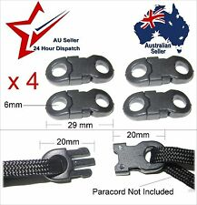 Black Plastic Joiner Clip Buckles for 550 Paracord Total 4 clips buckle joiners