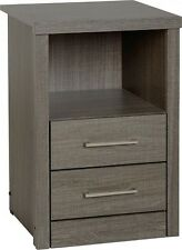 Grey Wood Grain 2 Drawer Bedside Chest W40cm X D40cm X H61cm LACEY