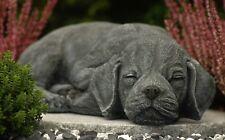 Steinfigur Hund schlafend 191, Gartenfigur Gartendeko Geschenk Figur Tierfigur