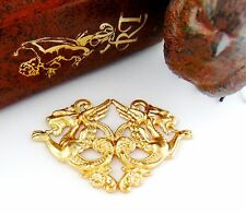 BRASS Double Medieval DRAGONS ~ Dragon Stampings ~ Jewelry Findings (C-1201)