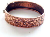Vintage Copper Bracelet, Copper Nugget Bracelet, Vintage Hinged Bangle Bracelet