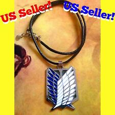 US! Attack On Titan Silver Scout Regiment Wings Of Freedom Metal Charm Necklace