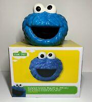 Sesame Street Cookie Monster Blue 20 oz Sculpted Ceramic Coffee Tea Mug Cup