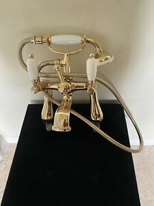 Vintage Style Gold Brass Bathroom Taps With Shower Mixer