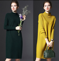 Ladies High Neck Knitted Sweater Dress Long Sleeves Slim Blouses Tops Hip Length