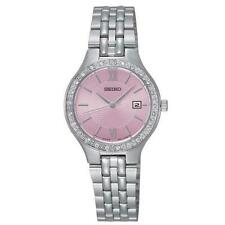 Seiko SUR765P9 Ladies Swarovski Crystal Set Cadran Rose 30 M Date Dress Watch