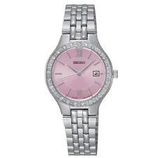 Seiko SUR765P9 Ladies Swarovski Crystal Set Pink Dial 30m Date Dress Watch