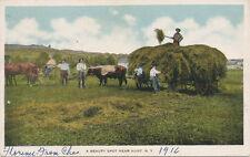 Hunt NY * Hay Wagon Farm Scene 1916 * Livingston Co.