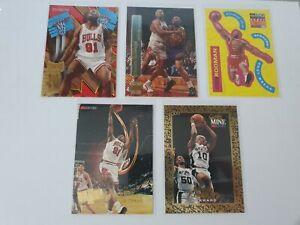 Dennis Rodman Lot (5) cards, hoops, stadium club, collector choice.