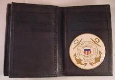 USCG US COAST GUARD AUXILIARY BLACK SOFT LEATHER 20 CREDIT CARD WALLET ID FLAP