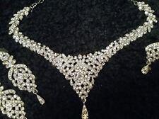 Diamond Look Necklace Earrings Tikka Indian Bridal Wear Heavy Jewelry Set - New