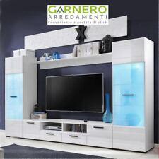 Parete attrezzata NOVA soggiorno porta tv, vetrina, ante e cassetti, led RGB
