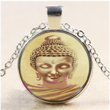 Buddha Buddhism Gautama Glass Cabochon Tibet Silver Pendant Necklace + Free Gift