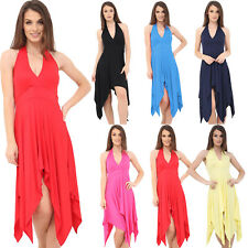 Womens Halter Neck Summer Party Evening Dress Holiday Evening Hanky Dresses