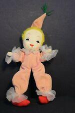Vintage - Soft Sculp Clown Doll - Pipe Cleaner flexible body - Peach Clown Suit