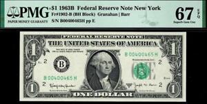 1963b $1 New York BARR Federal Reserve Note FRN • PMG 67 EPQ 1902-B