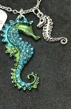 "Seahorse Green Blue Enamel Dream of Sea Charm Tibetan Silver 18"" Necklace D324"