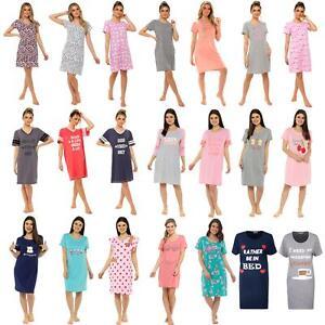 Ladies Cotton Nightdress Nightie Nightshirt T Shirt Pyjamas Size 8-22 NEW