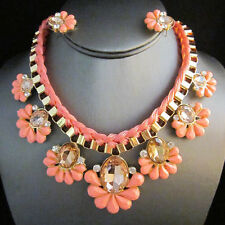 NEW Urban Anthropologie Adonis Flower Peach Bead Lace Necklace Earrings