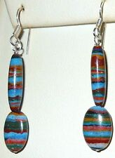 STERLING SILVER GENUINE CALSILICA EARRINGS SPECTACULAR COLORS