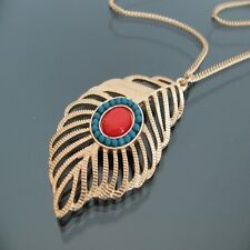 Vintage bronze peacock eye feather necklace