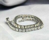 6.ct Women Moissanite cz Accents Lab Grown Gemstone Bracelet 14k White Gold Over