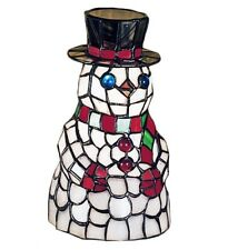 """Frosty the Snowman Tiffany Style Stained Glass 8.5"""" Meyda Accent Lamp 18461"""